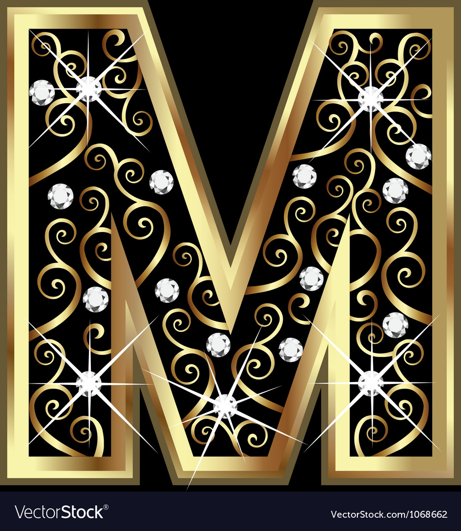 M gold letter with swirly ornaments vector image