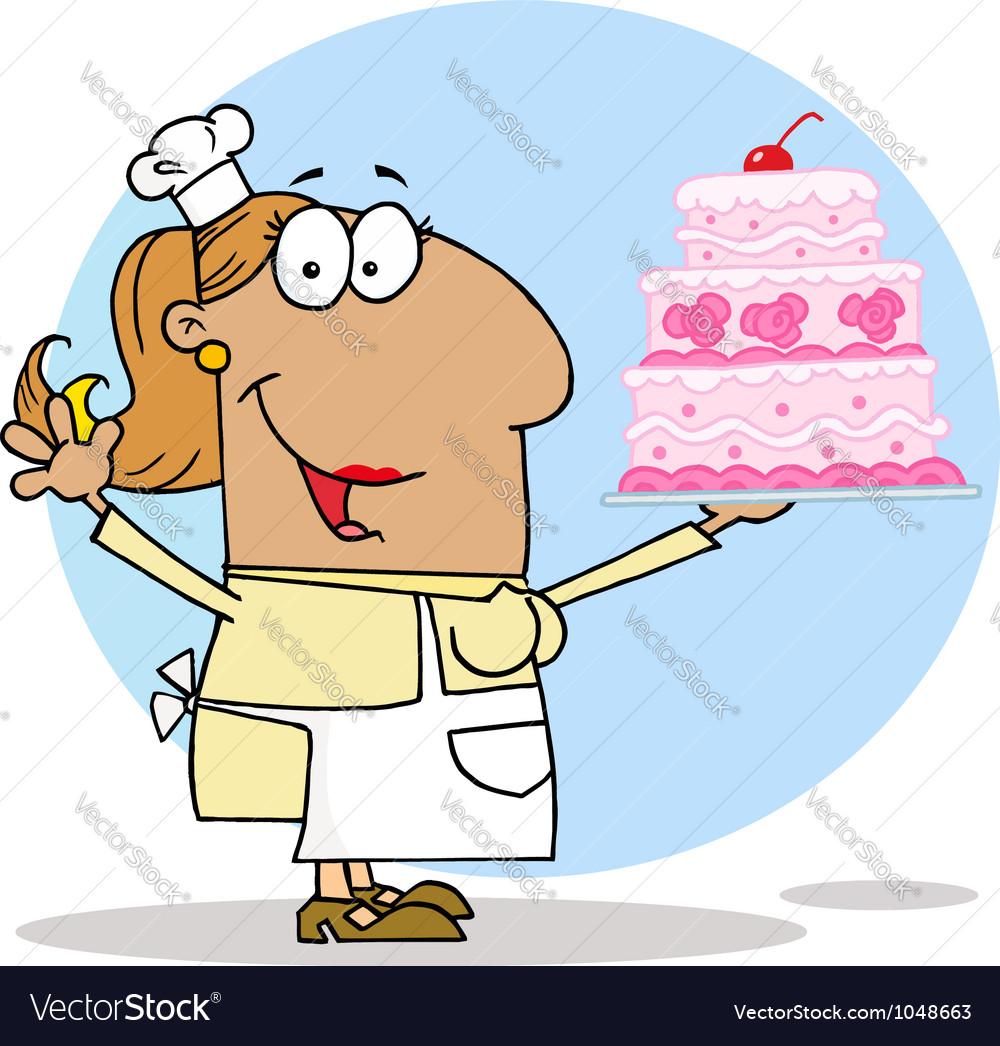 Tan Cartoon Cake Maker Woman vector image