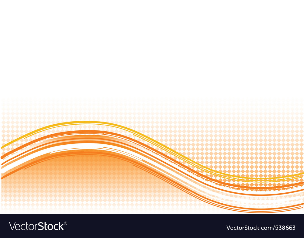 Orange wave background with lines vector image
