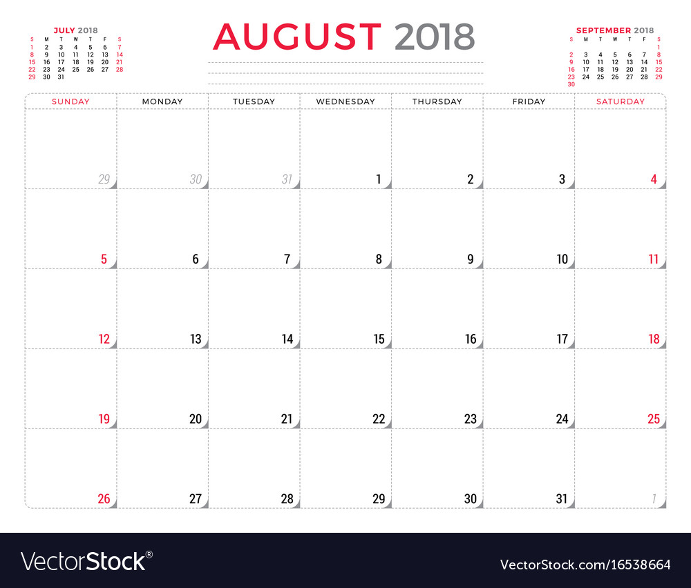 Calendar Planner Vector Free : August calendar planner design template week vector image