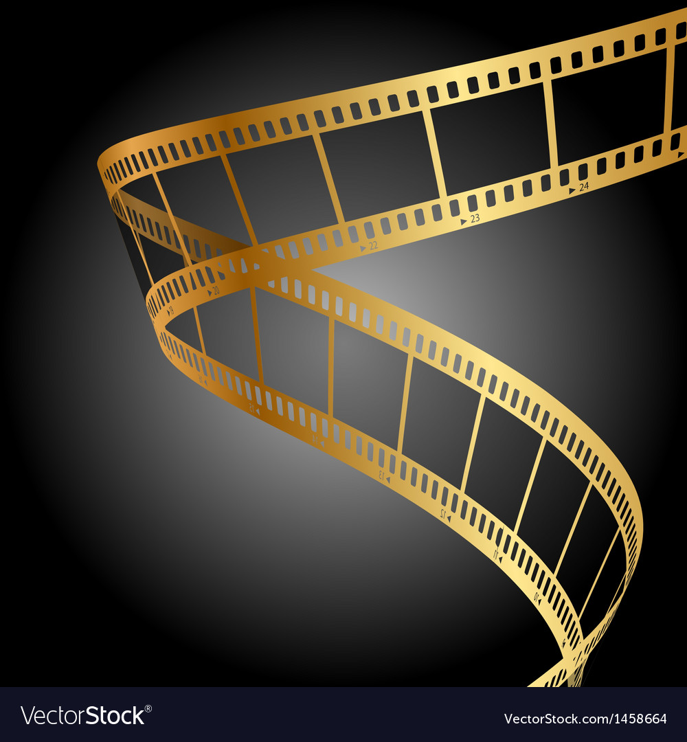 Gold film strip background vector image