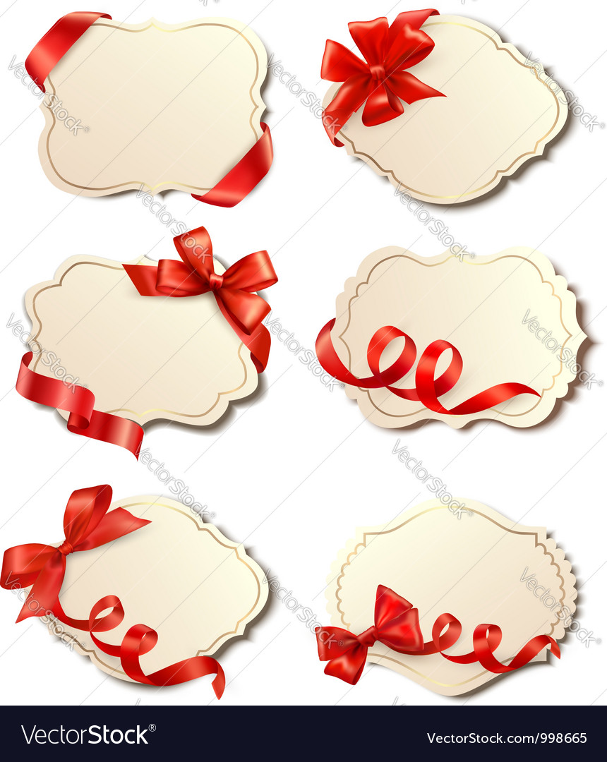 Set of beautiful cards with red gift bows with vector image