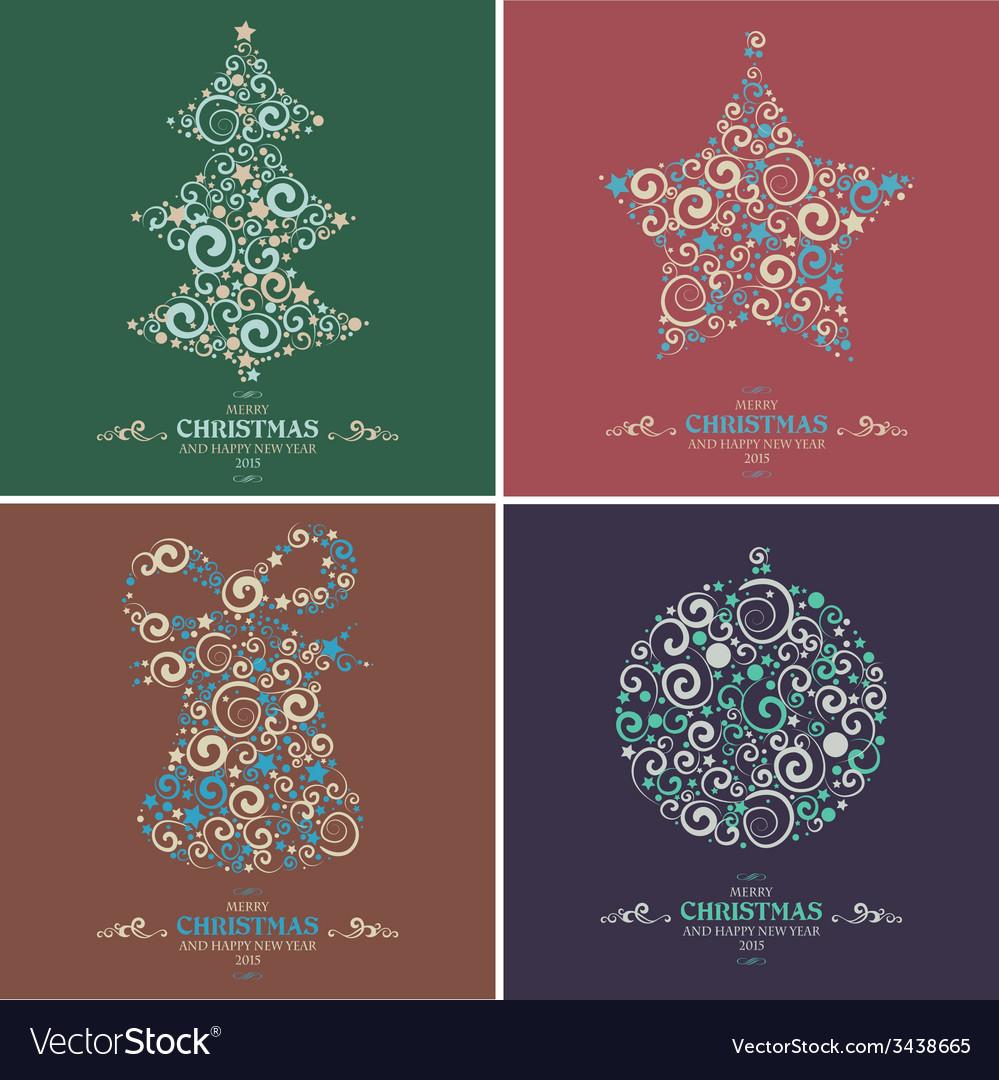 Set of decorative Christmas elements vector image