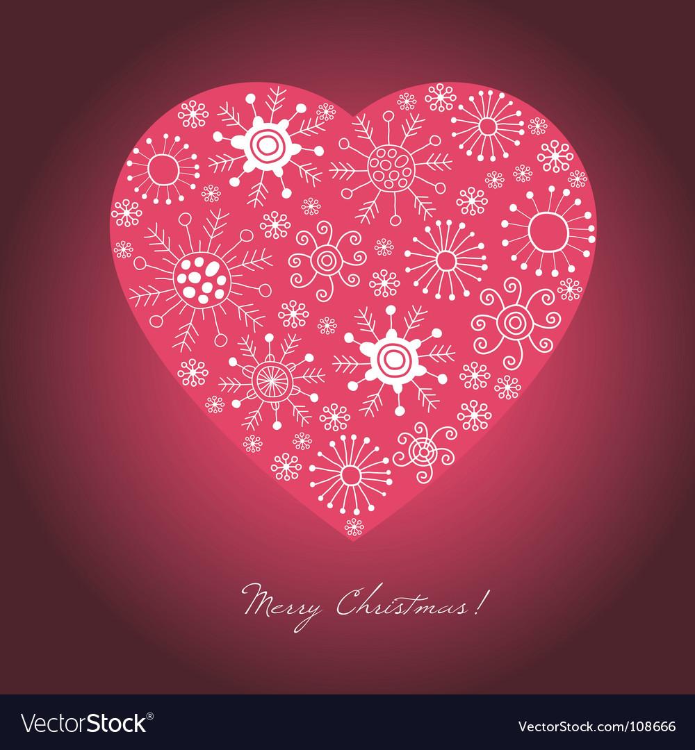 Heart shape snowflakes vector image