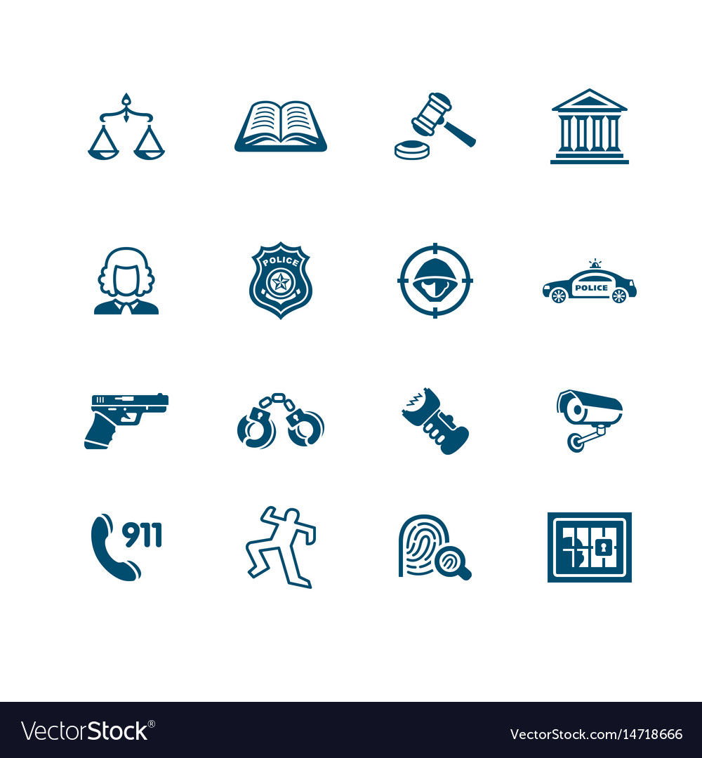 Law and order icons micro series vector image