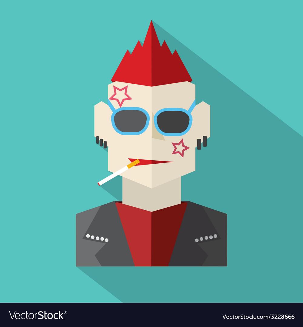 Modern Flat Design Punk Rock Man Royalty Free Vector Image