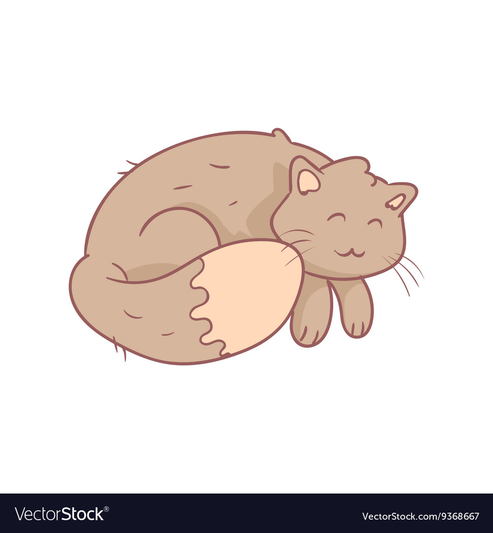 Sleeping Fluffy Grey Cat vector image