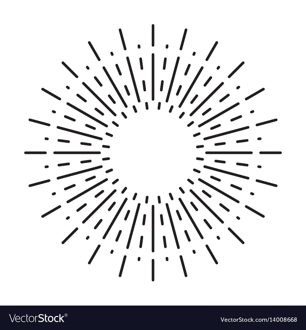 Linear drawing of vintage sunbursts or light rays Vector Image for Vector Light Rays Vintage  49jwn