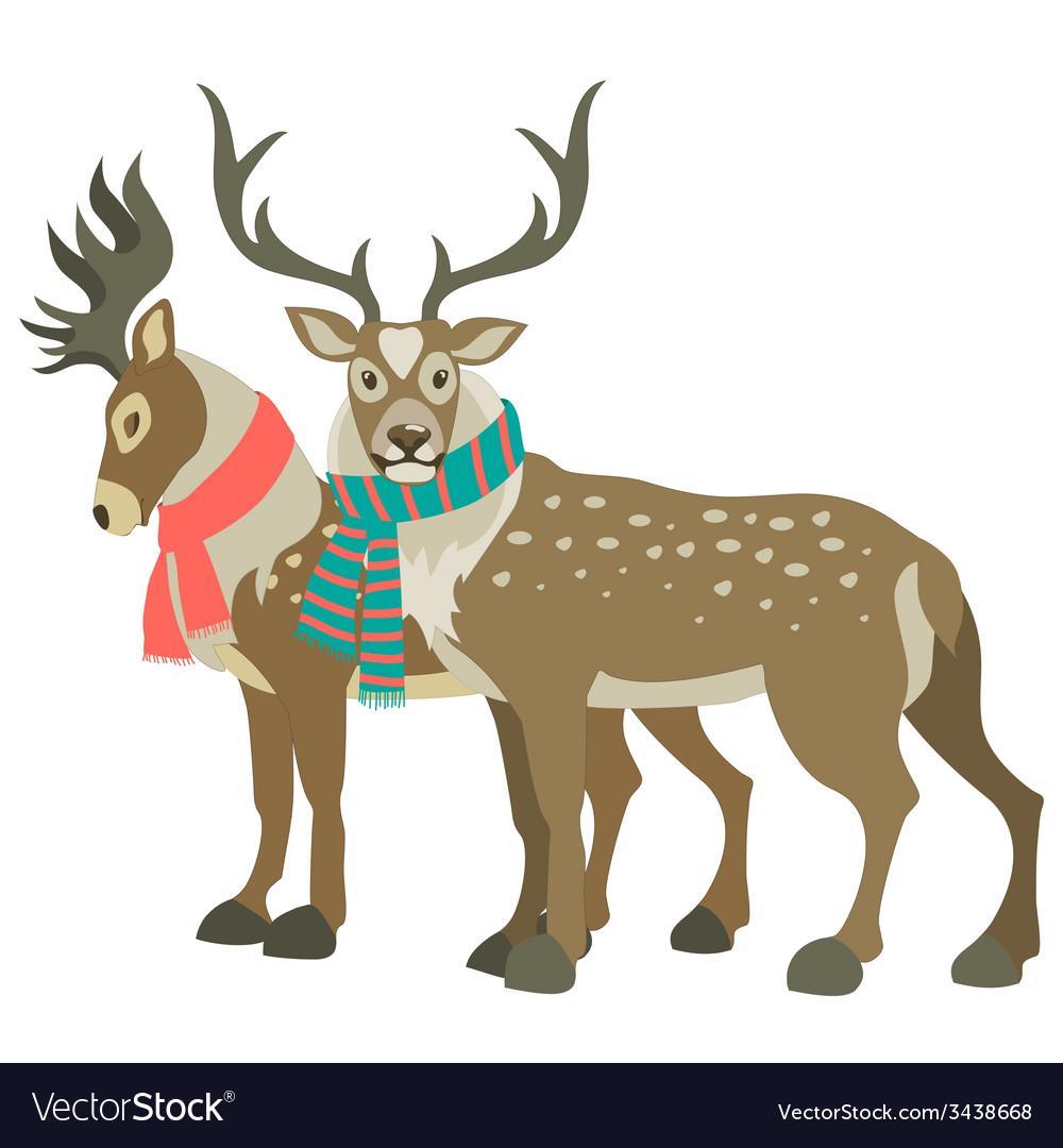 Two cute reindeers vector image