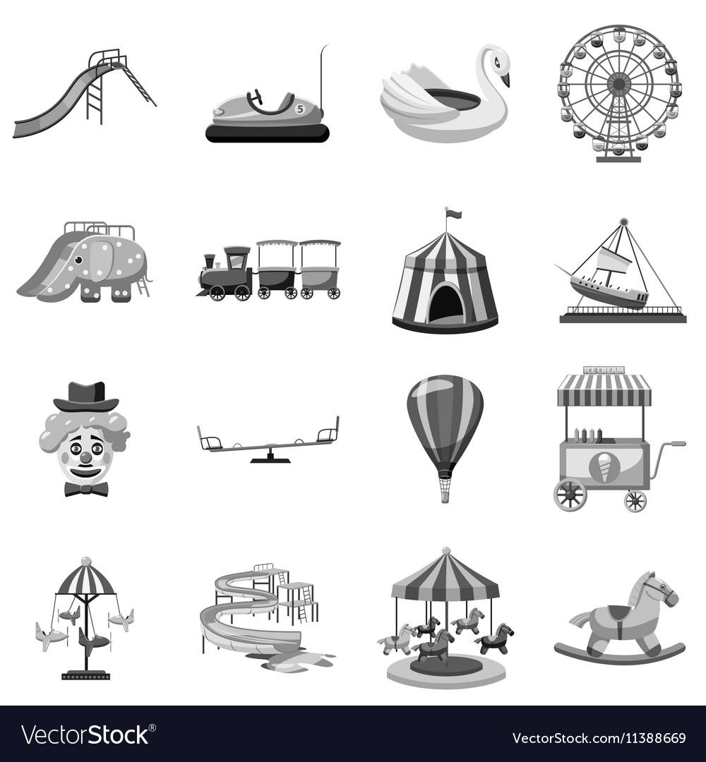 Amusement park icons set gray monochrome style vector image
