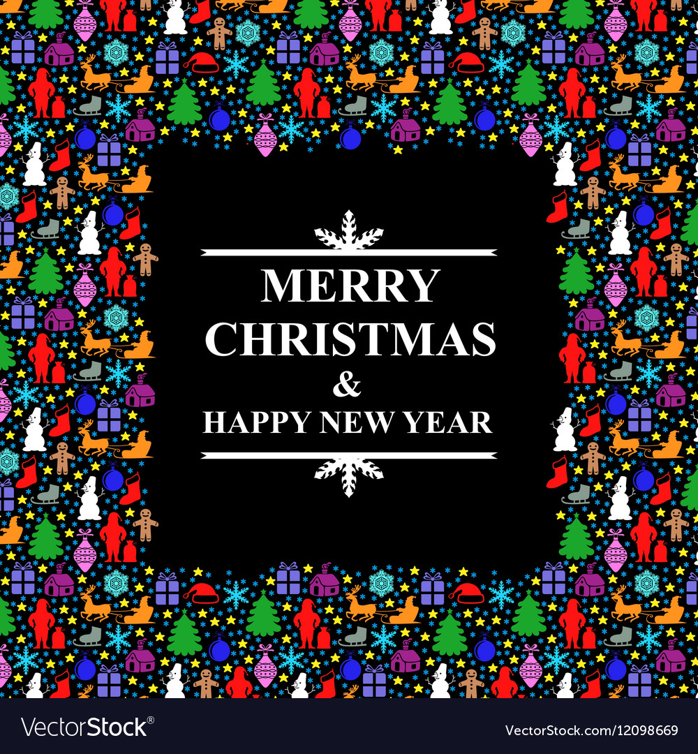 Color xmas frame vector image