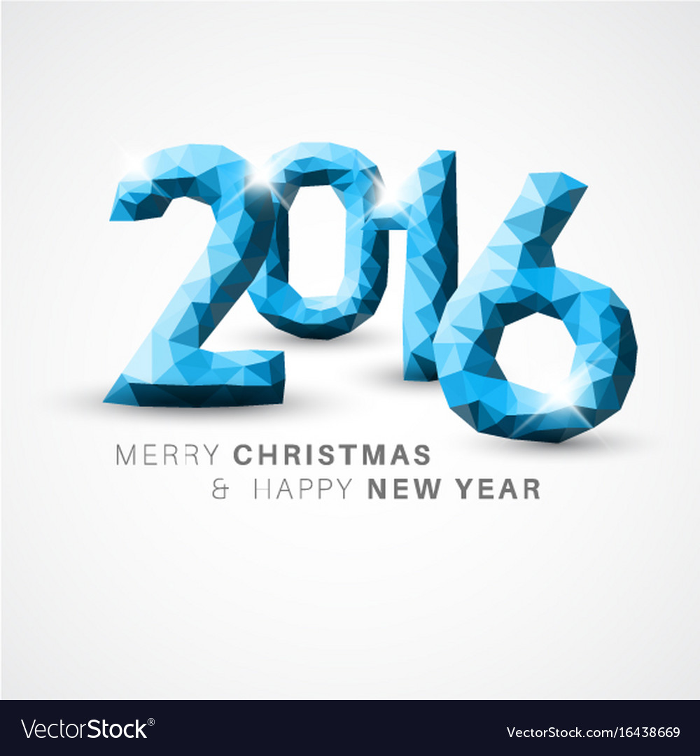 Modern simple happy new year card 2016 vector image