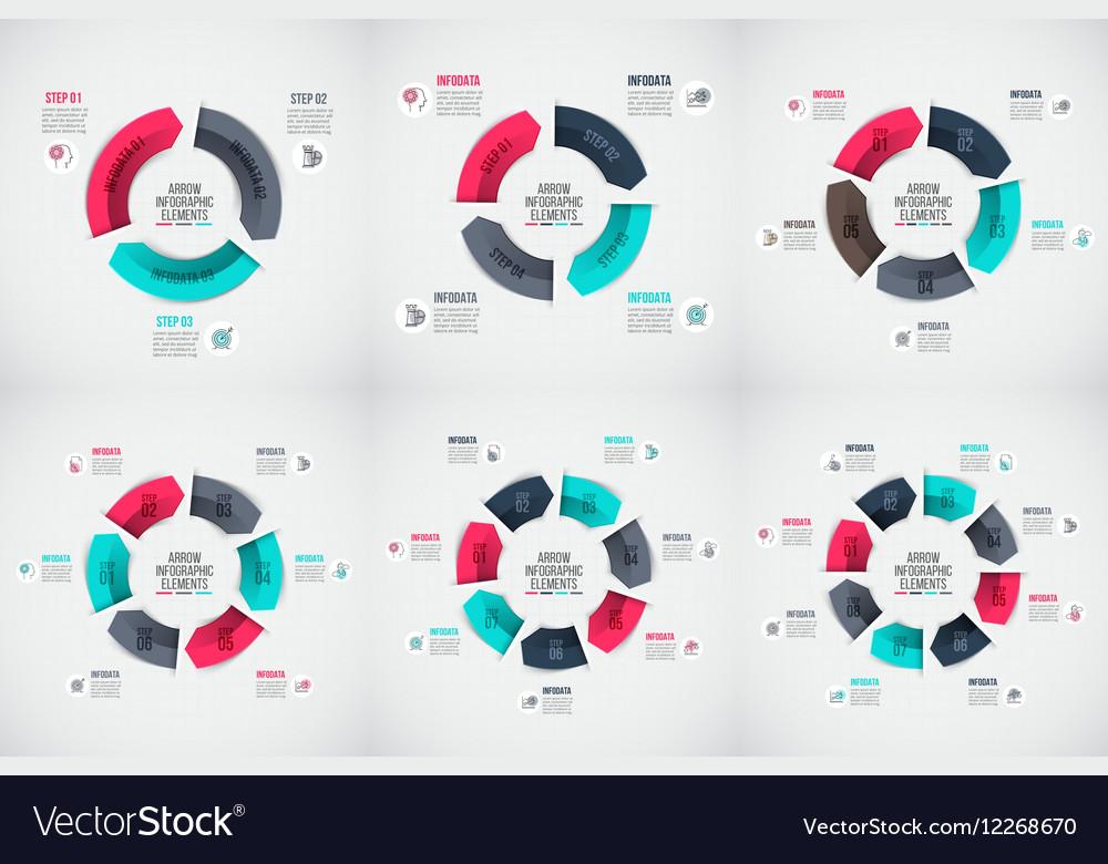Arrows infographic set vector image