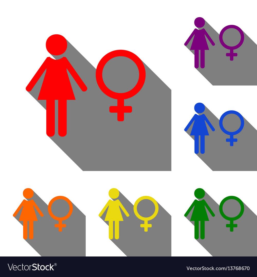 Female sign set of red orange vector image