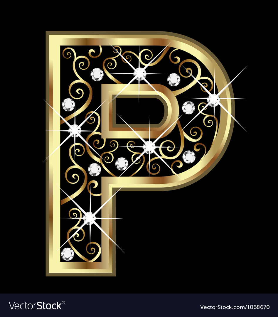 P Gold Letter With Swirly Ornaments Vector Image  P&l Forms