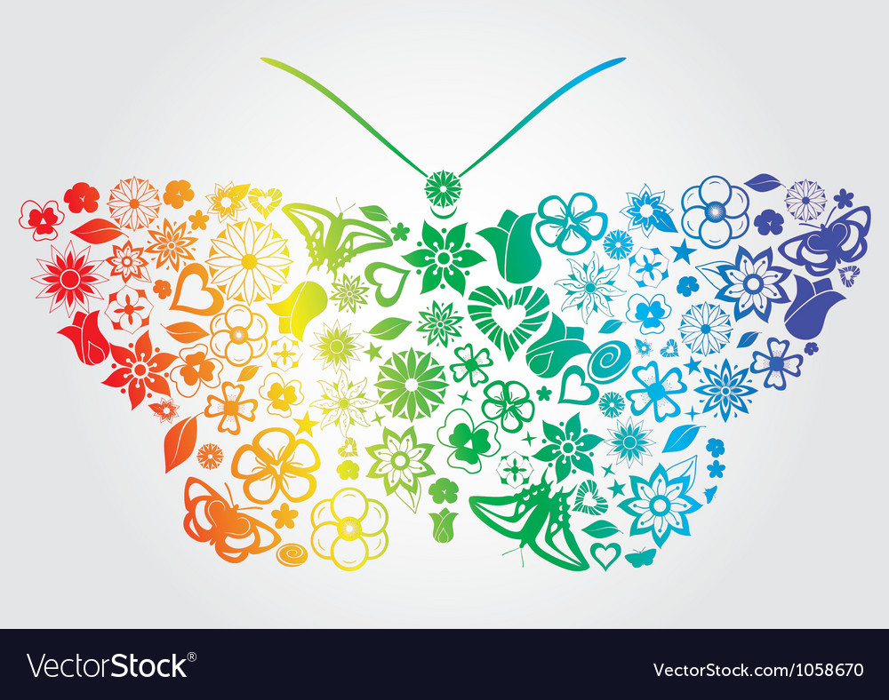 rainbow flower butterfly royalty free vector image