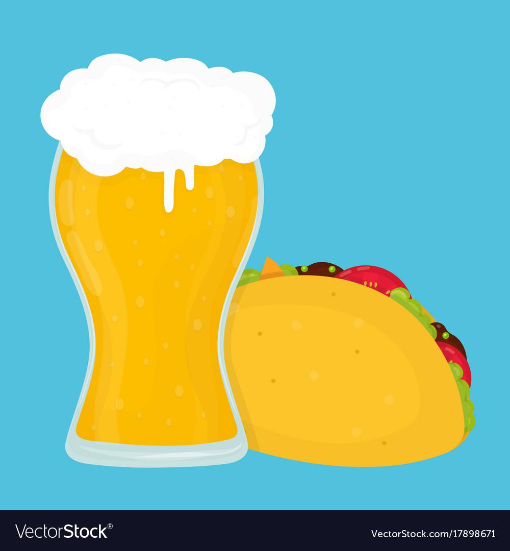 Beer and taco flat cartoon vector image