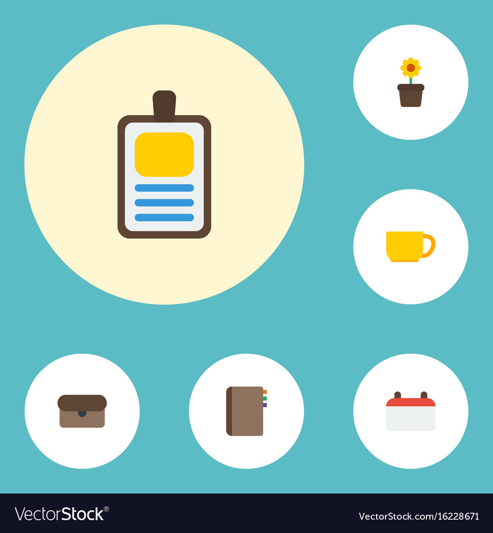 Flat icons contact date plant pot and other vector image