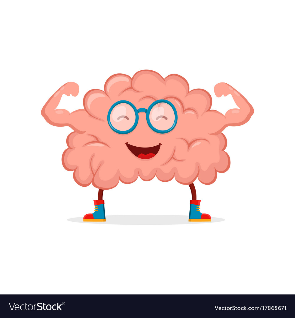 Strong happy healthy brain character vector image
