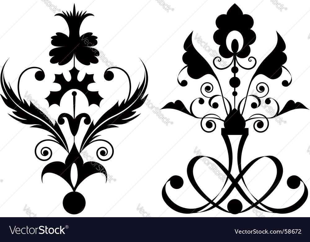 Flowers black Vector Image