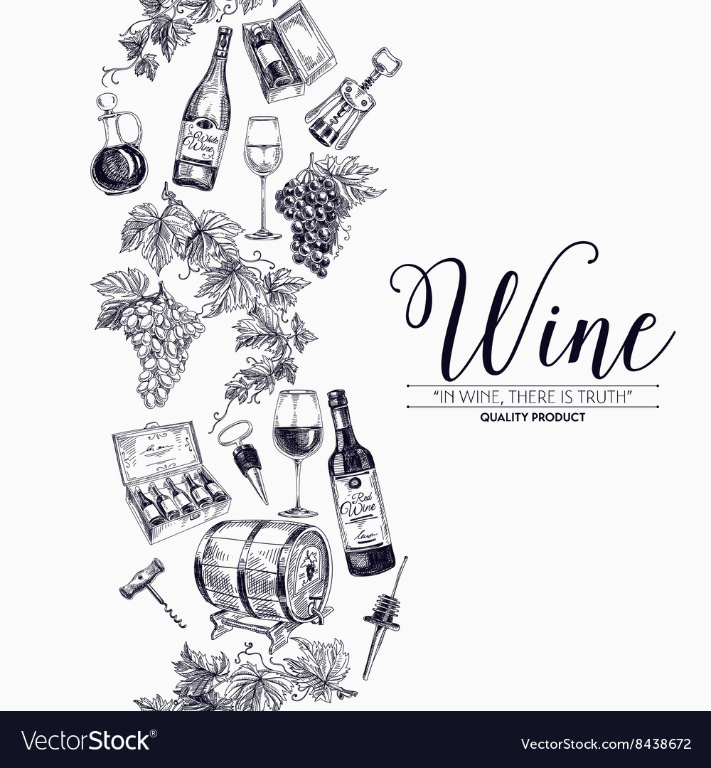Background with hand drawn wine drawings vector image