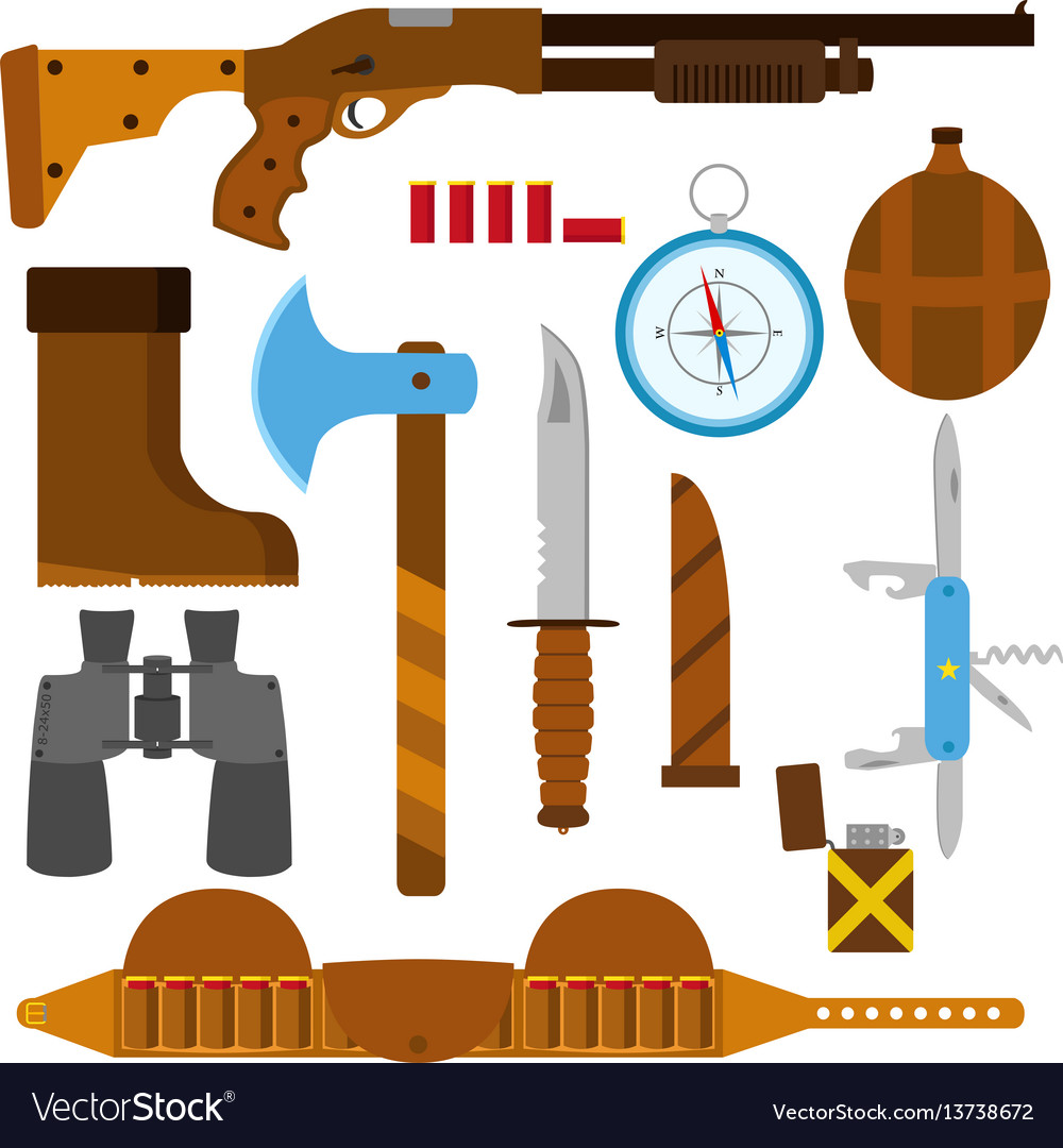 Hunting icons flat set with knife axe shotgun case vector image