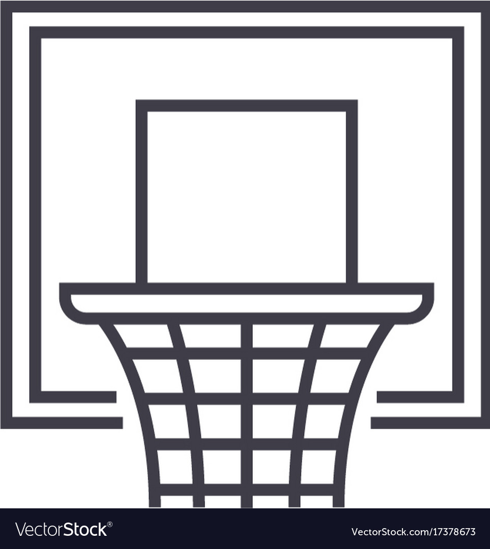 Basketball hoop flat line concept vector image