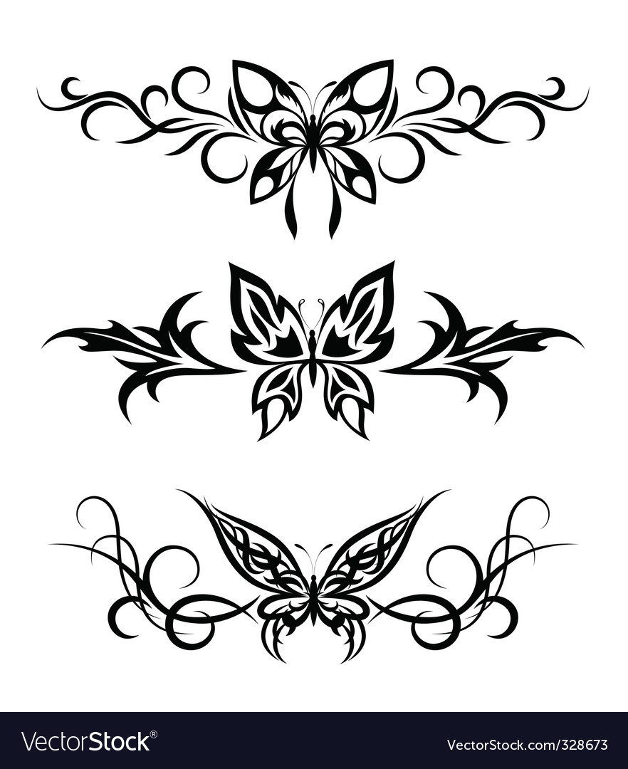 Set tribal with butterflies tattoo vector image
