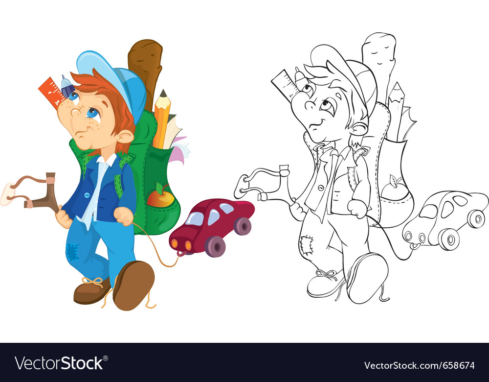 Naughty boy and toy car color and outline vector image