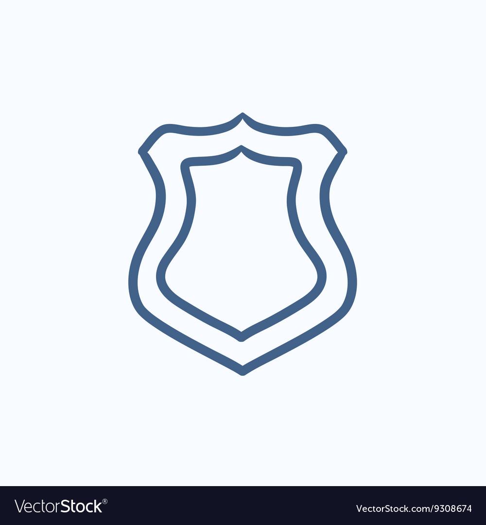 Police badge sketch icon vector image