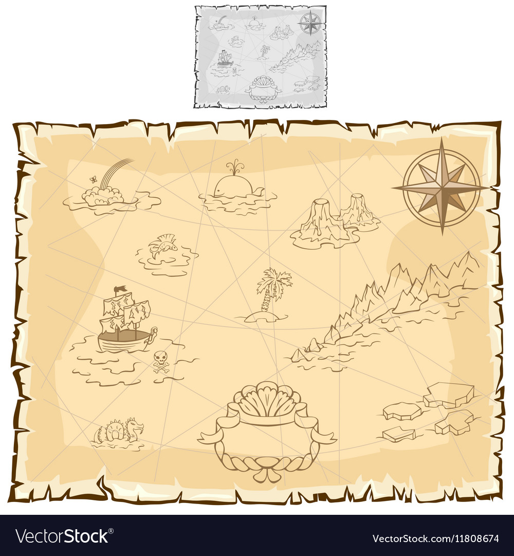 Treasure map on old parchment vector image