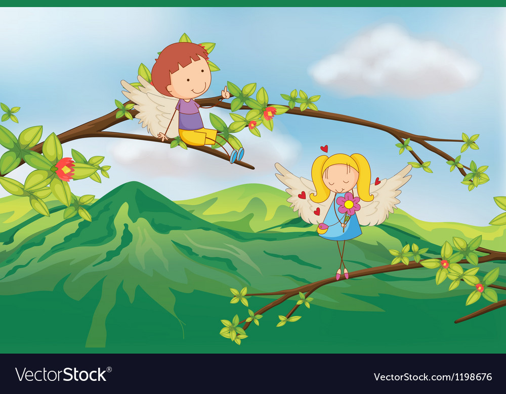 Angels at the branch of a tree vector image