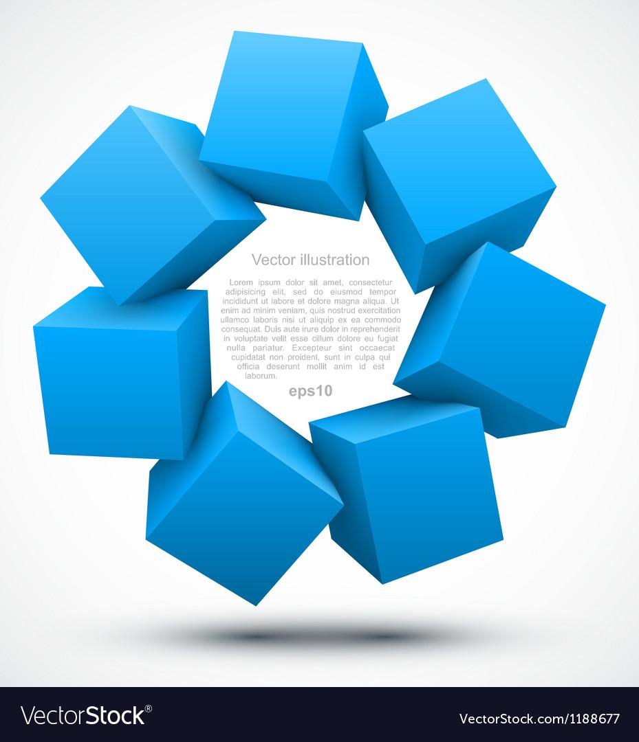 Blue cubes 3D vector image