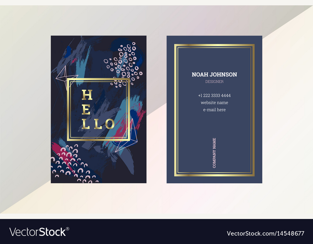 Double sided business card template in blue color vector image flashek Images