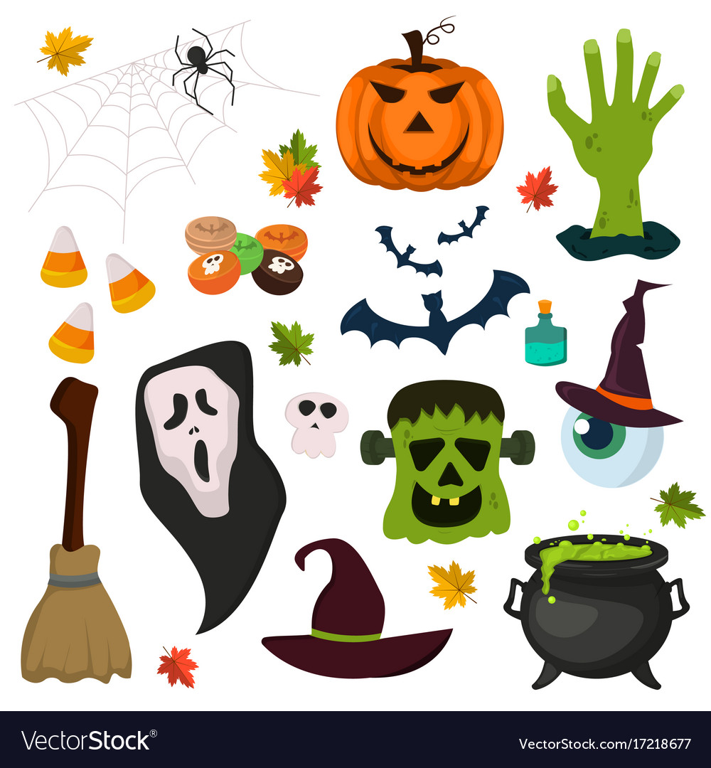 Halloween symbols pumpkin ghost holiday collection