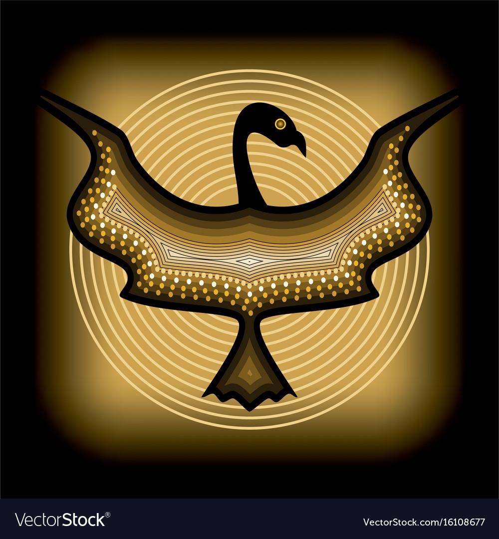 Mythologic ornamental bird silhouette tribal vector image