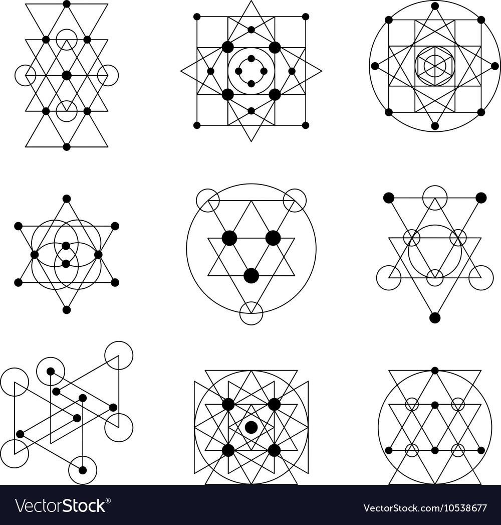 Sacred geometry elements vector image