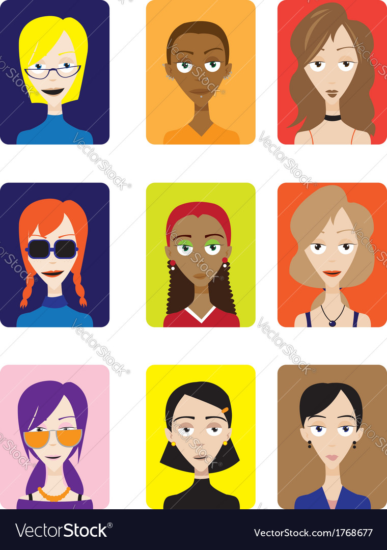 Set of Female Avatar vector image