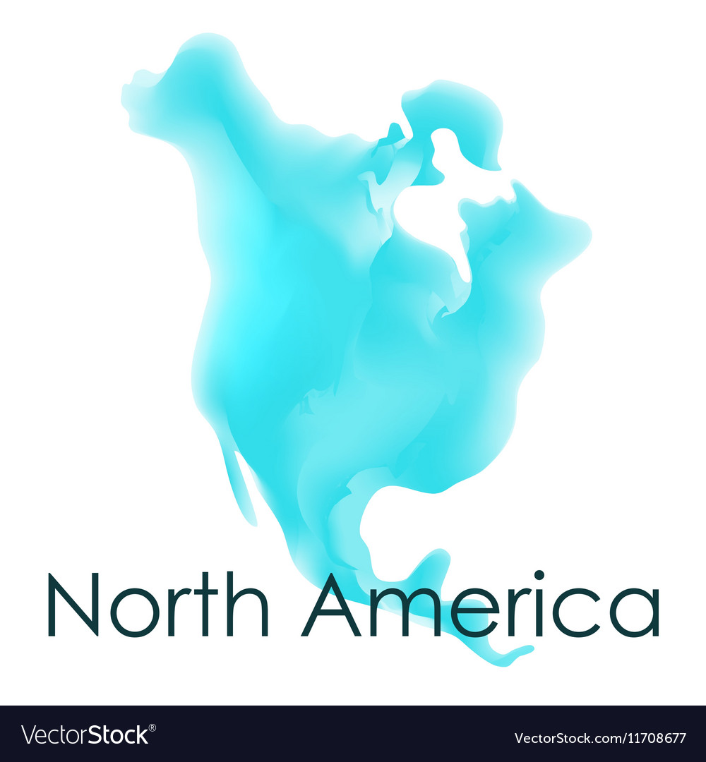 Watercolor map of North America on a white vector image