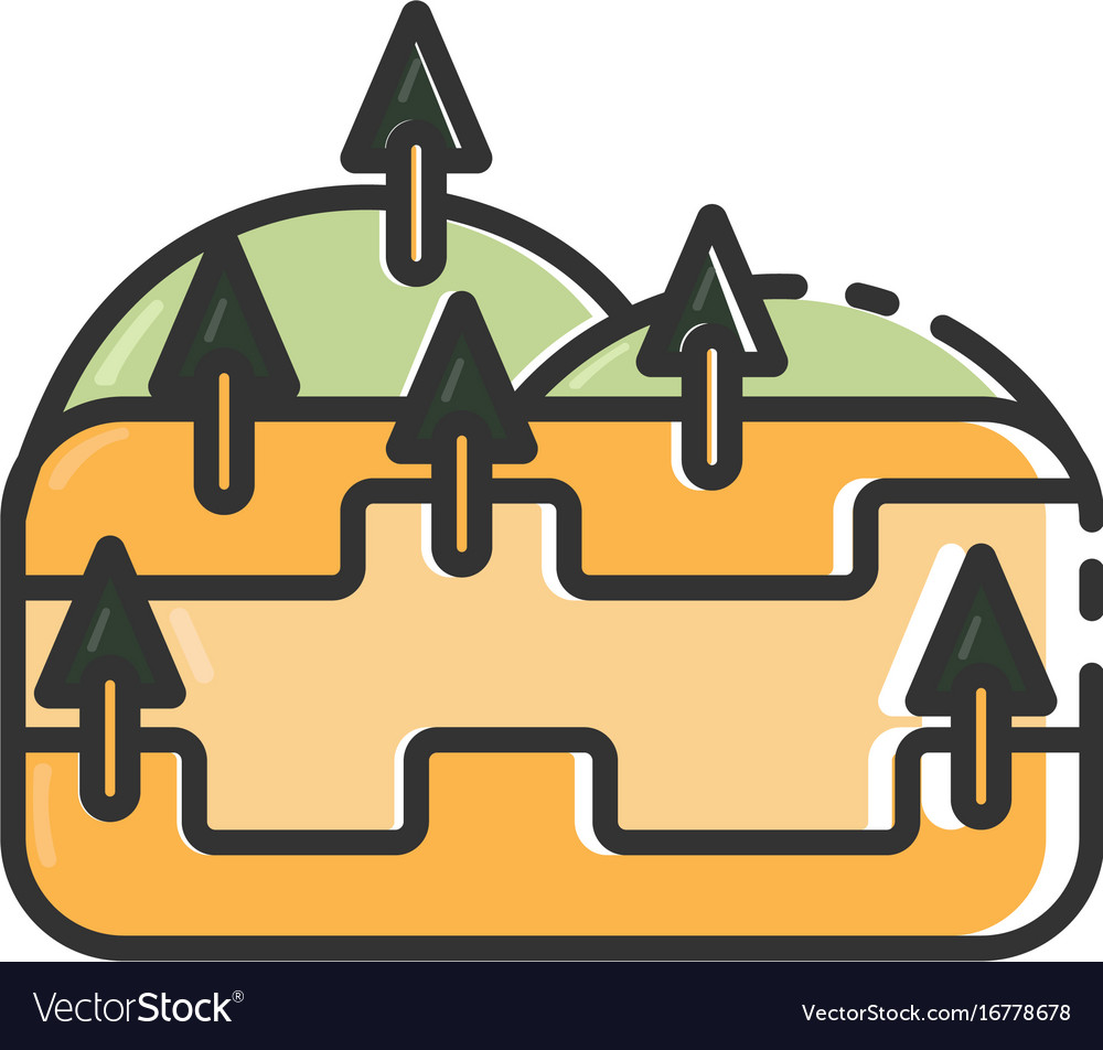 Flat color hill icon vector image