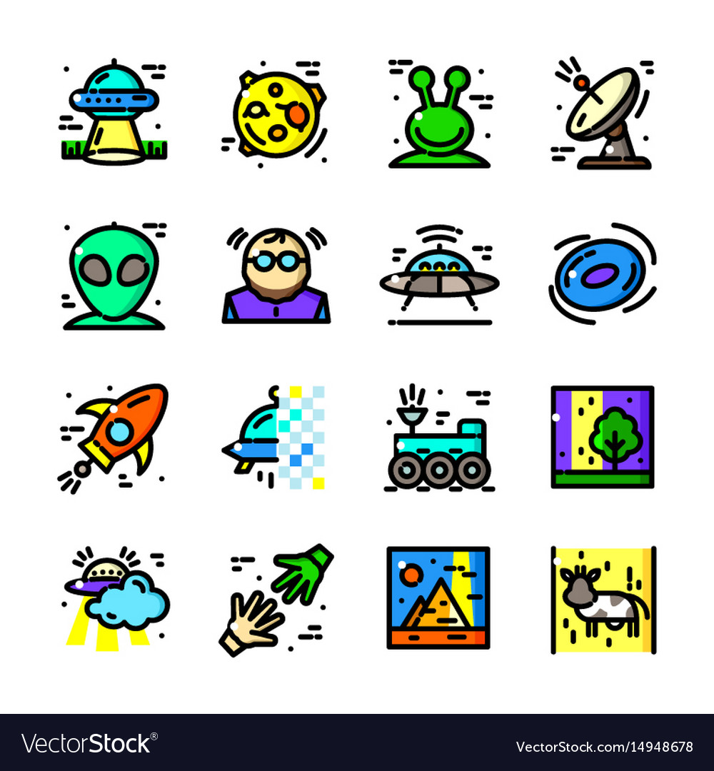 Thin line ufo icons set vector image
