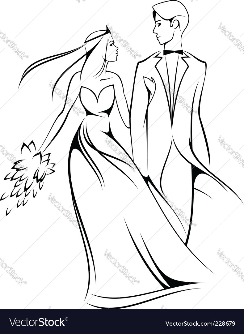 Cartoon bride and groom Vector Image