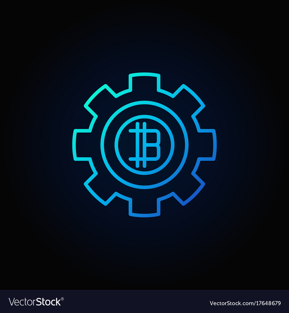 Bitcoin in gear blue icon crypto currency vector image