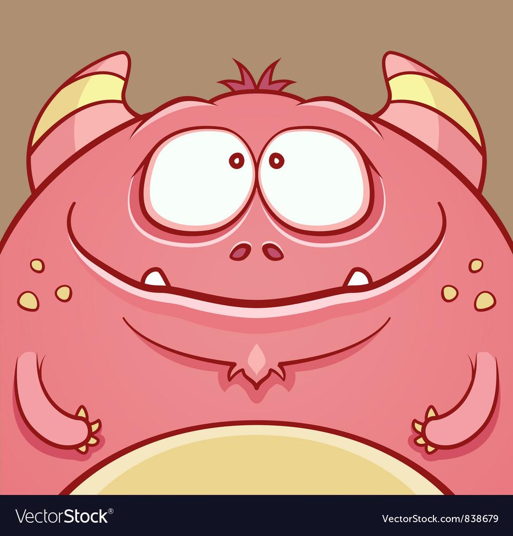 Cute Horned Monster vector image