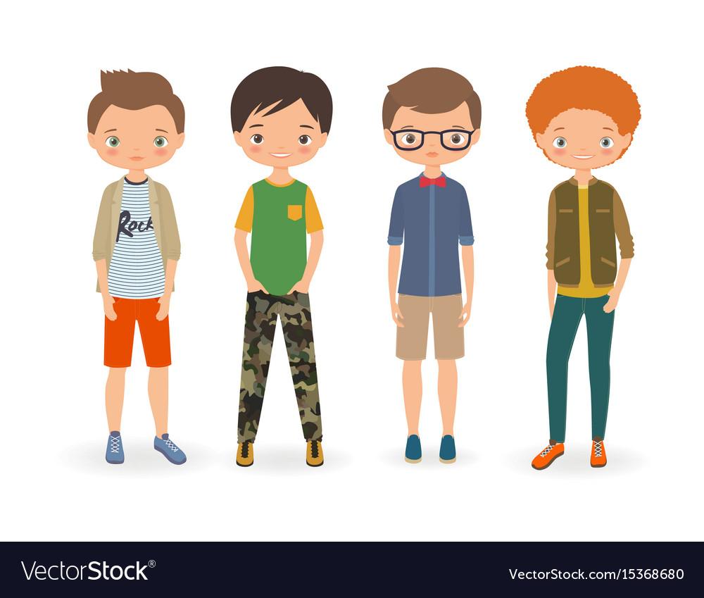 Fashion stylish boys vector image
