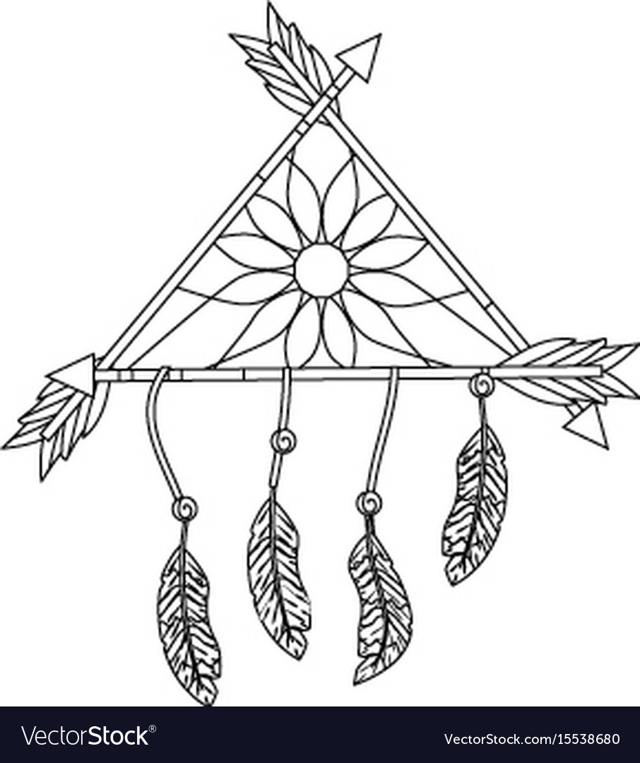 Line beauty dream catcher with feathers and arrows vector image