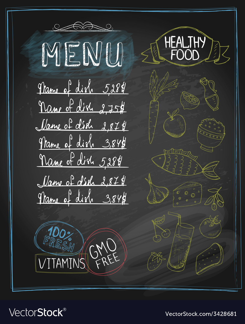 Chalkboard healthy food menu vector image