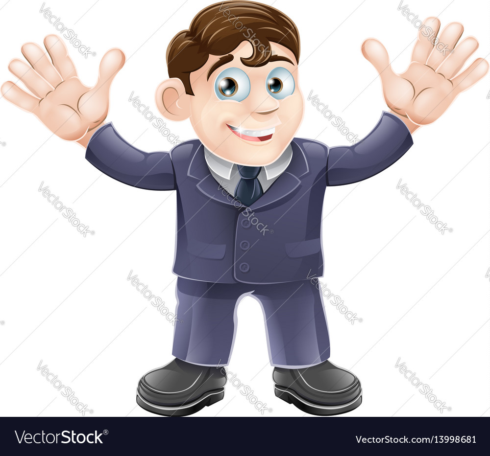 Cute businessman in suit waving vector image