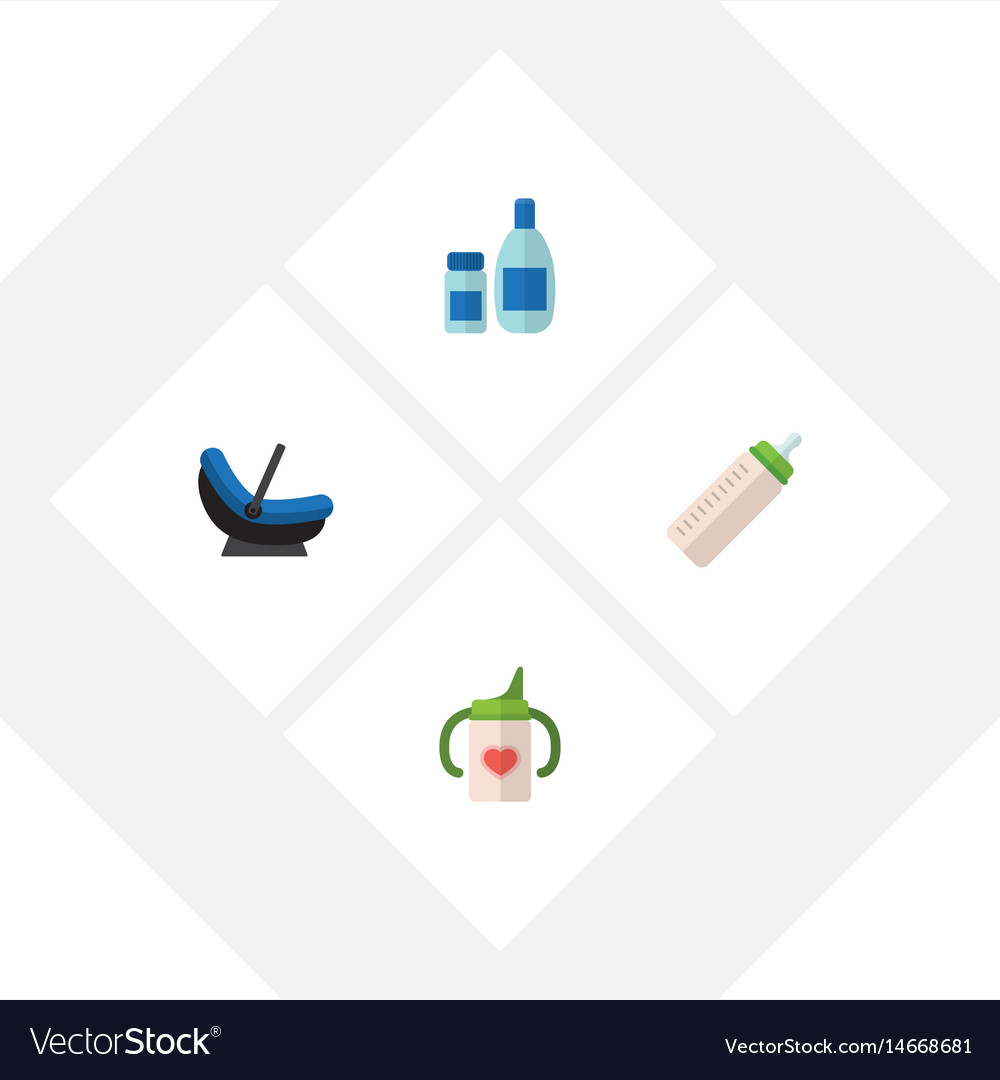 Flat kid set of cream with lotion nursing bottle vector image