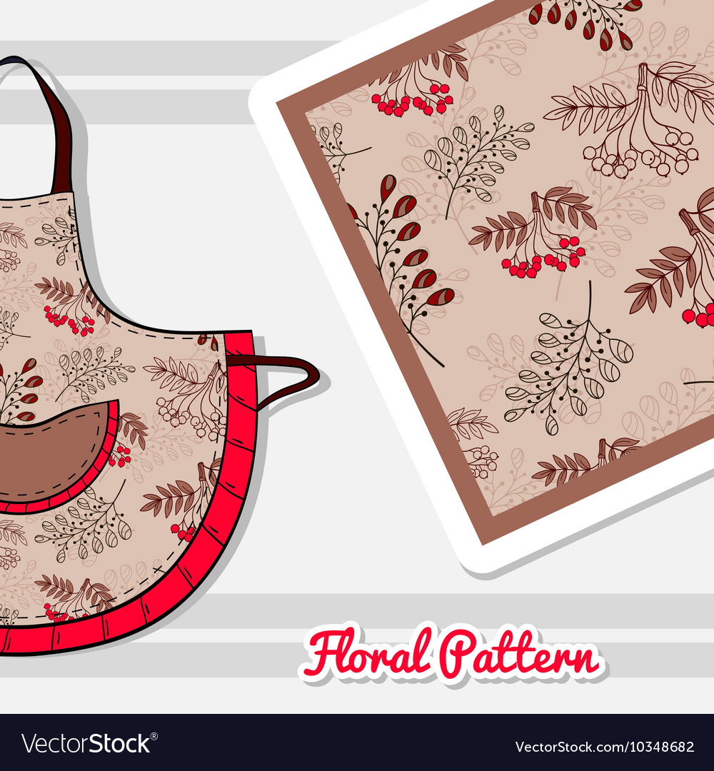 Apron With Red Berries vector image